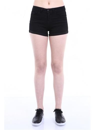 Rodi Jeans Kadın Katlamalı Paça Denim Şort TY19YB142167 Siyah